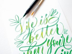 I love this calligraphy from Manuscript, using their Aquabrush pens